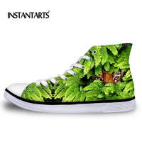 INSTANTARTS Men S Vulcanize Shoes Brand Spring Summer Shockproof Casual Canvas Shoes Male Cool Green Animal
