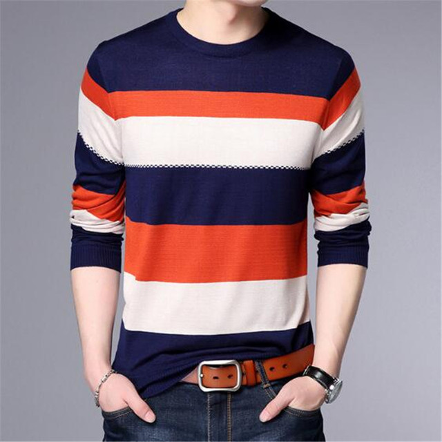 2018 new Men T-Shirt Spring Summer Long Sleeve O-Neck T-Shirt Men Brand Striped shirt Fashion Patchwork Cotton Tee AE88