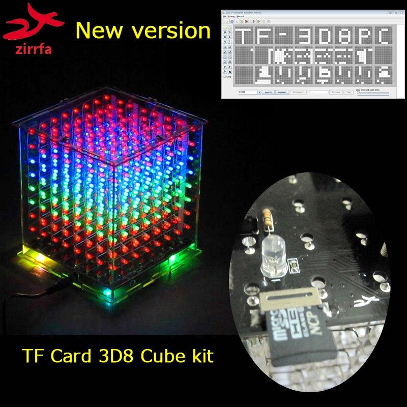 New mini multicolor 3D 8 8x8x8 light cubeeds kit audio spectrum for TF card led electronic diy kitNew mini multicolor 3D 8 8x8x8 light cubeeds kit audio spectrum for TF card led electronic diy kit