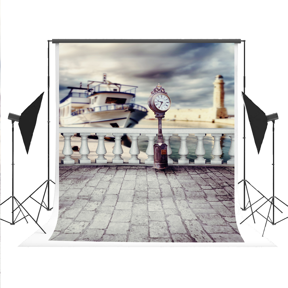 Kate Photography Background Fundo Watches Ship Parapet Pier Photo Oil Painted Backdrops Photocall Foto for Fond Studio 5x7ft kate christmas background photography no wrinkle seamless red snow backdrops for photography photo booth fond studio 7x5ft