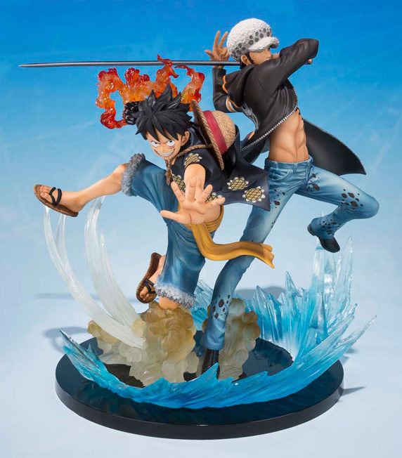 One Piece Five Years Commemorative Edition Luffy & Trafalgar Law Match Skills Battle Scene Kit PVC Action Figure Collection Toy anime one piece luffy vs trafalgar law 5th anniversary pvc action figure collectible model toy 16cm opfg511
