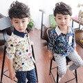 2015 весной новый детская одежда мальчиков рубашки, 4-8Y розничные мальчики с длинным рукавом рубашки дети блузка