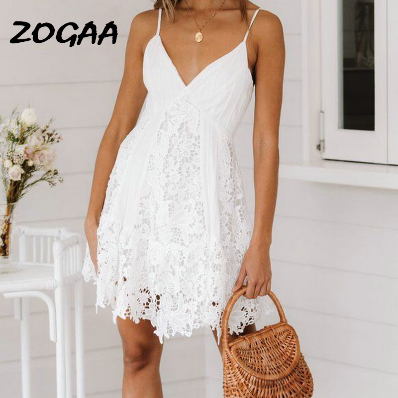 ZOGAA Branco Verão Beach Dress Mulheres Lace Spaghetti Strap Bordados de Algodão Vestido Elegante Casual Bohemian Vestidos de Festa branco