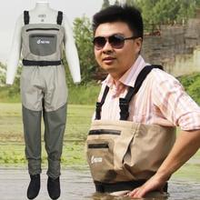 Transpirable pantalones de vadeo de pesca de alta calidad, rafting desgaste pecho waders con calcetines de neopreno