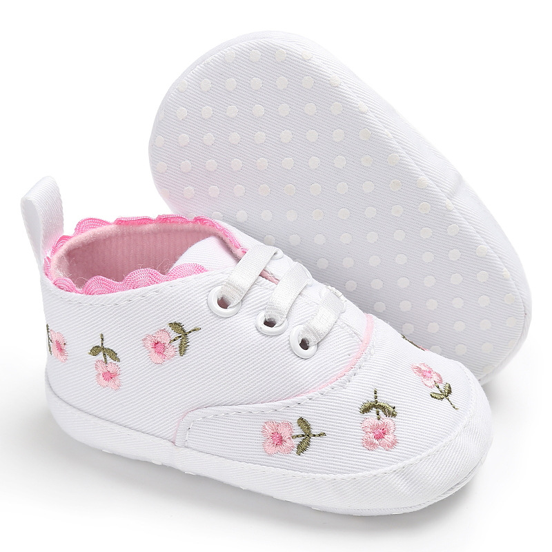 Pretty Canvas Baby Girl Shoes White Lace Floral Embroidered Soft Shoes Prewalker Walking Toddler Kids Shoes