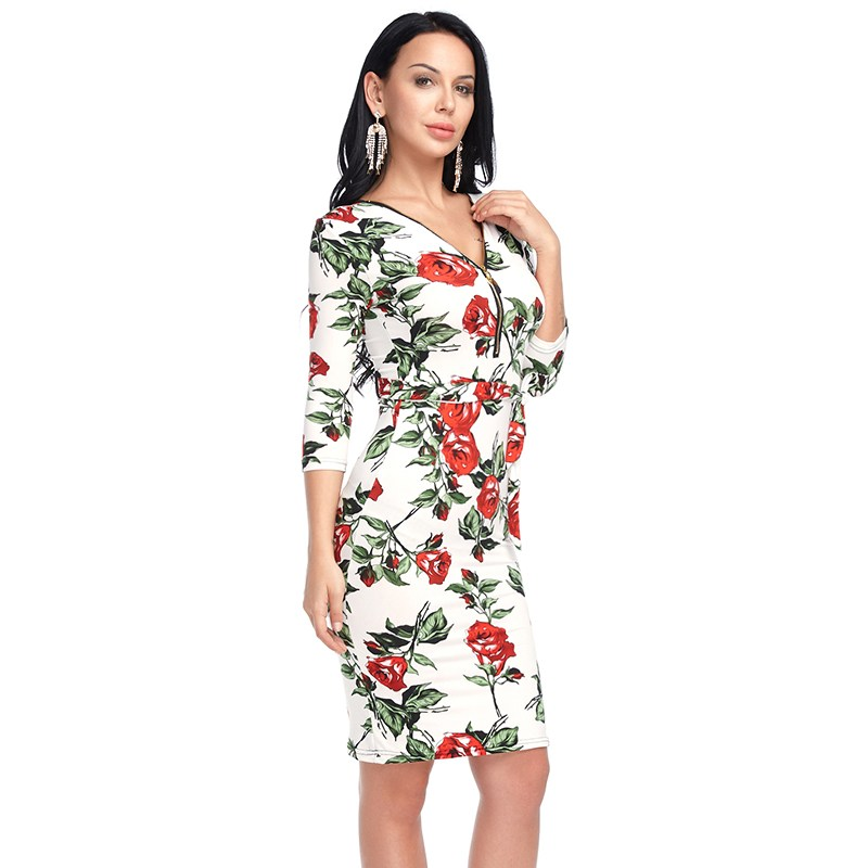 Women Floral Printing Dress Sexy Bodycon V-neck Summer Party Dreeses Fashion Half Sleeve ...