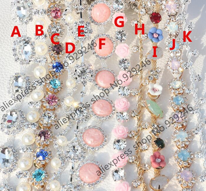 1 Yard/pack Colorful Pink White Crystal Rhinestone Chain Fashion Garment Yard Trimmings For Bridal Wedding Dress Embellishment