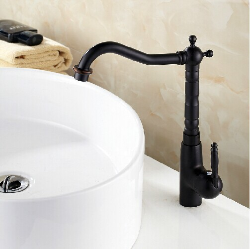 Black bronze kitchen faucet 360 swel Antique blackend sink tap cold and hot mixer tap