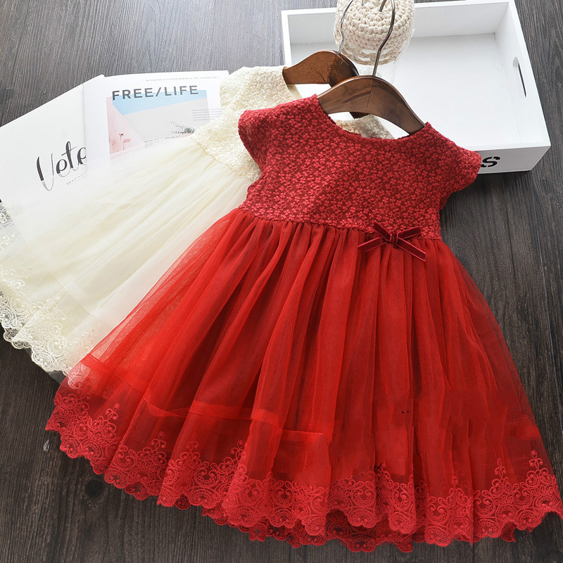 Girl Princess Dress Spring Summer New Lace Embroidered Stitching Yarn Tulle Short Sleeve Lace Dress