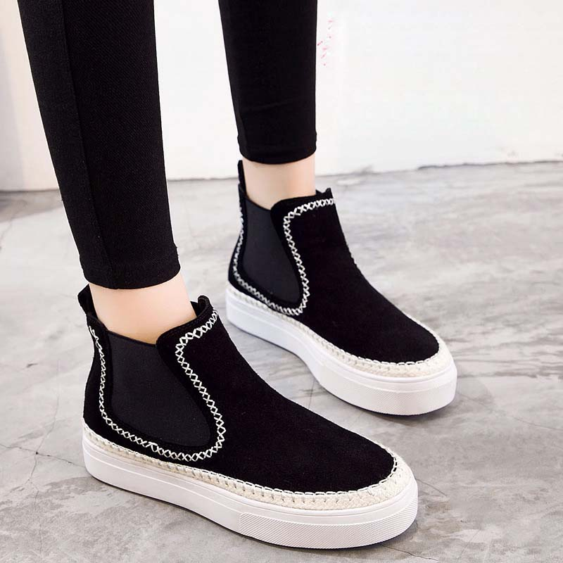 Jookrrix 2018 Autumn Winter Girl Fashion British Style Chelsea Boot Retro Real Leather Shoe Women Brand Lady Ankle Boots Warm jookrrix autumn fashion boots women shoe metal decoration lady genuine leather zipper martin boot breathable black western style page 10