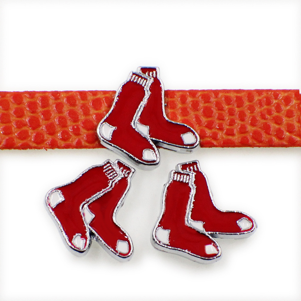 20 Pcs Baseball Team Slide Charms 8mm Enamel Boston Red Sox Slide Charms Fit Pet Collar DIY Necklace & Bracelet