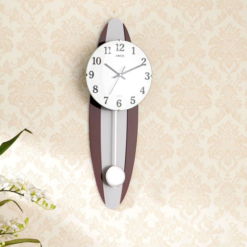 Nordique Antique horloge en bois pendule murale Design moderne horloges murales grand silencieux salon Unique montre décorative mur Watch5