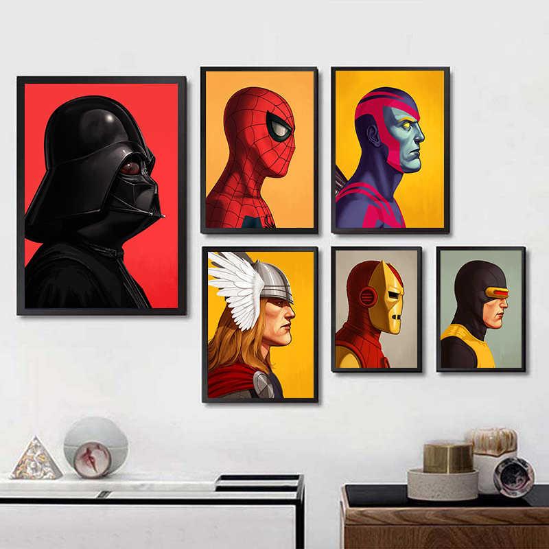 Minimalista Cartaz de Super-heróis Vingadores Capitão América Hulk Deadpool Marvel DC Pintura Wall Art Pictures para Sala de estar