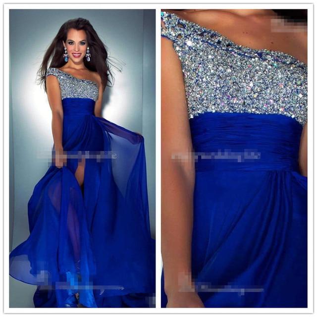 Long Prom Dresses 2015 Sexy One Shoulder Chiffon A Line Beaded Plus Size  Royal Blue Prom Dress Fast Shipping vestidos para festa 98cea365420a