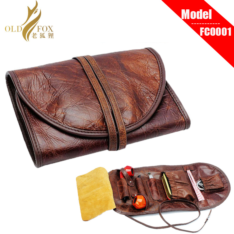 OLDFOX Good Durable Portable Litchi PU Leather Pipe Pouch/Ca