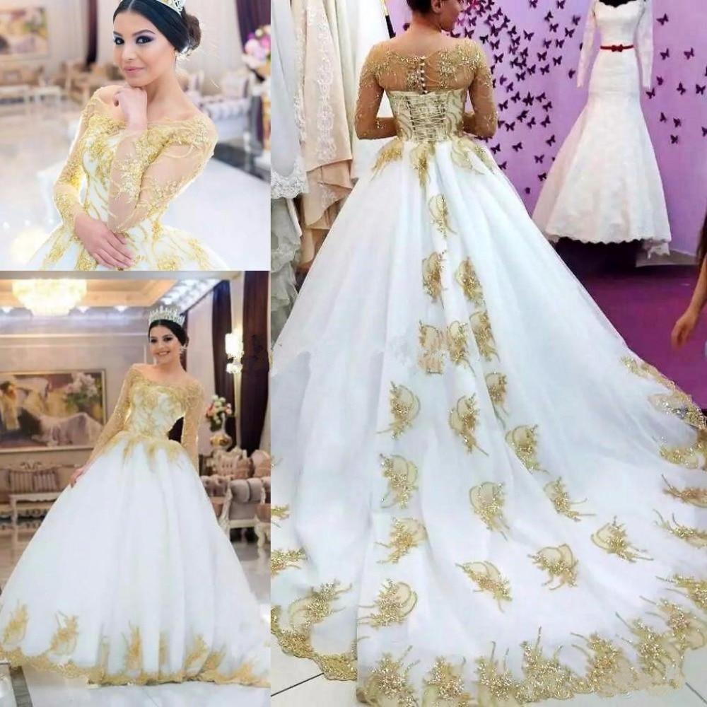 Modest Wedding Dresses 2019: Luxury Shiny Gold Long Sleeve Wedding Dresses 2019 Modest