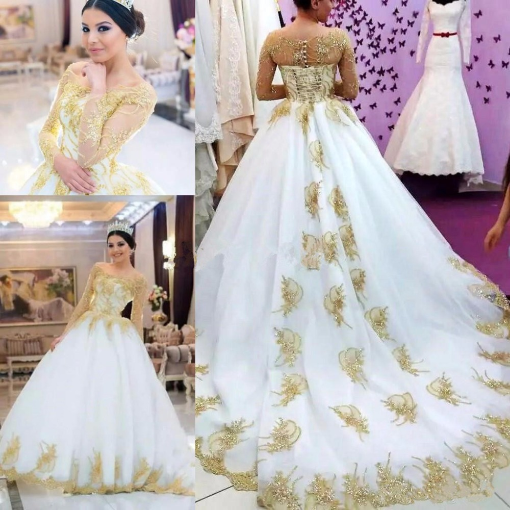 Luxury Shiny Gold Long Sleeve Wedding Dresses 2020 Modest Bateau Indian Kaftan Caftan Dubai Church Garden Castle Wedding Gown Wedding Dresses Aliexpress