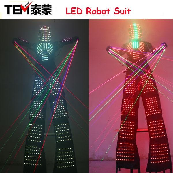 LED Luminous Robot Costume David Guetta Robot Suit Performance Illuminated Kryoman Robotled Stilts Clothes Luminous Costumes