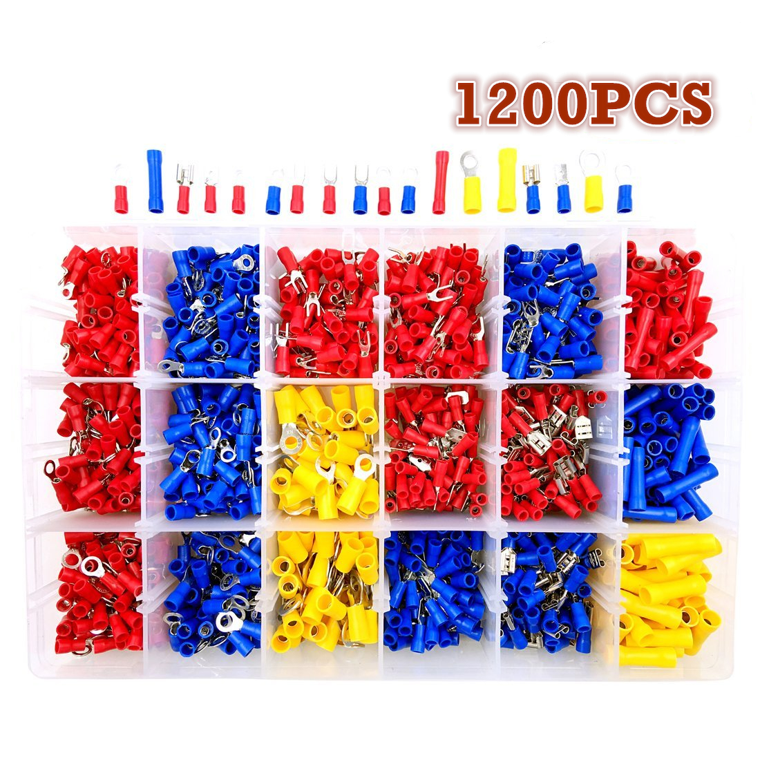 1200Pcs/Set Assorted Electrical Wire Crimp Terminals Red Blue Yellow Insulated Spade Cable Connectors 22-10AWG 200 pcs blue insulated crimp receptacle terminals cable lug frd2 195 awg 16 14