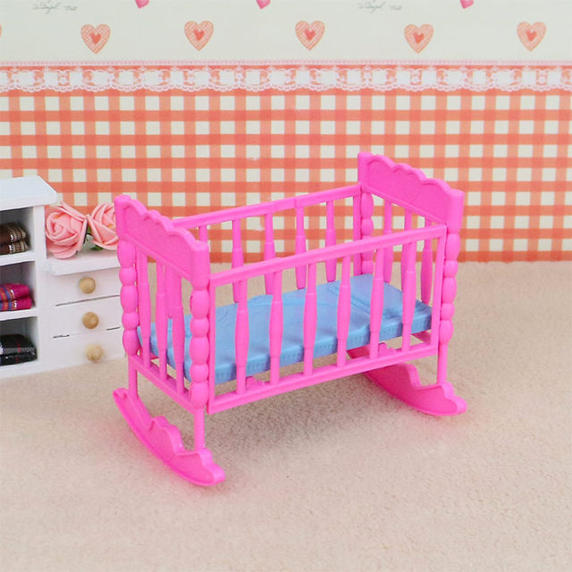 Online Shop Barbie bed for doll crib plastic DIY assembly dollhouse ...
