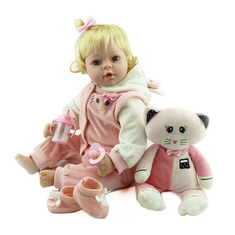 55cm Victorian Adora Lifelike Newborn Baby Bonecas Baby Kid Toy Cute Golden Hair Girl Silicone Toddler Dolls Reborn Baby Dolls