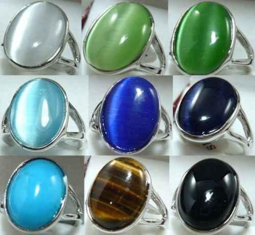 จัดส่งฟรีshitou 0008 9color-13*18มิลลิเมตรสีขาว/สีเขียว/สีฟ้า/สีดำโอปอล///เสือตาหินแหวนสามารถเลือก