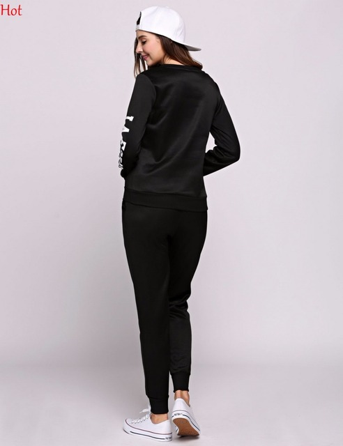 Spring Women 2Pcs Sets Hoodies Number Letters Printed Sweatshirt Sweat Pants Trousers Clothing Sets Fashion Casual Outwear Suit 5