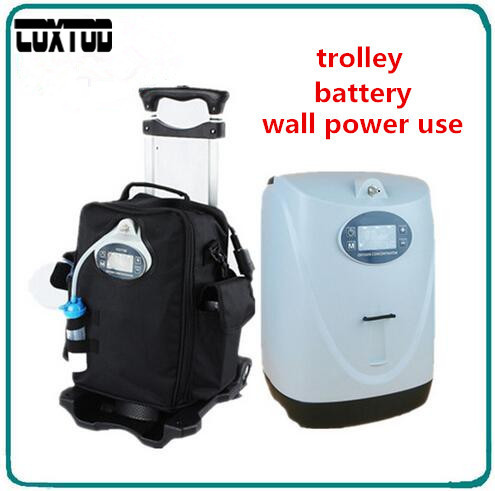 COXTOD Battery Operated Portable Oxygen Concentrator Generator Home Car Travel with cart oxygen making machine