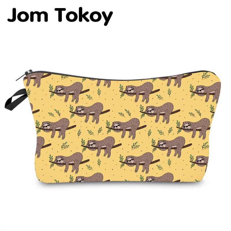 Jom Tokoy Water Resistant Makeup Bag Printing Sloth Cosmetic Bag Lovely Cosmetic Organizer Bag Women Multifunction Beauty Bag