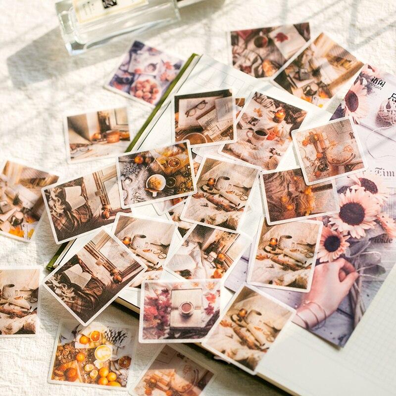 60 unids/bolsa Vintage tiempo de recuerdo flor washi pegatina decoración pegatinas para manualidades DIY ablum álbum de recortes diario planificador Álbum de fotos de 60 páginas álbum de recortes de papel para manualidades álbum de fotos para bodas regalos de aniversario libros de memoria decr