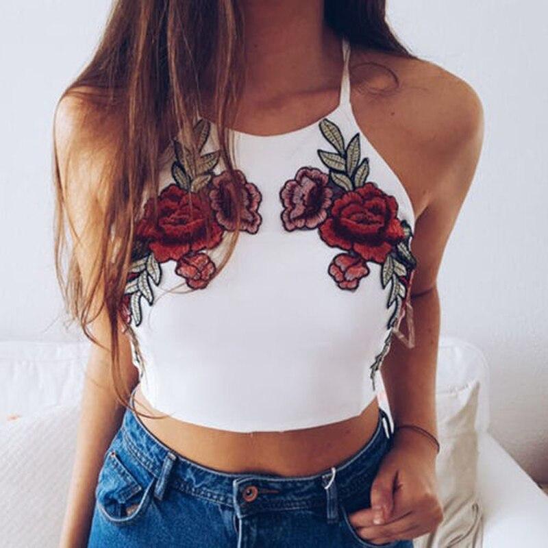 Fashion Elegant Summer Tanks Tops Women Sleeveless O-Neck Pullover Floral Embroidery White Short Length Tops