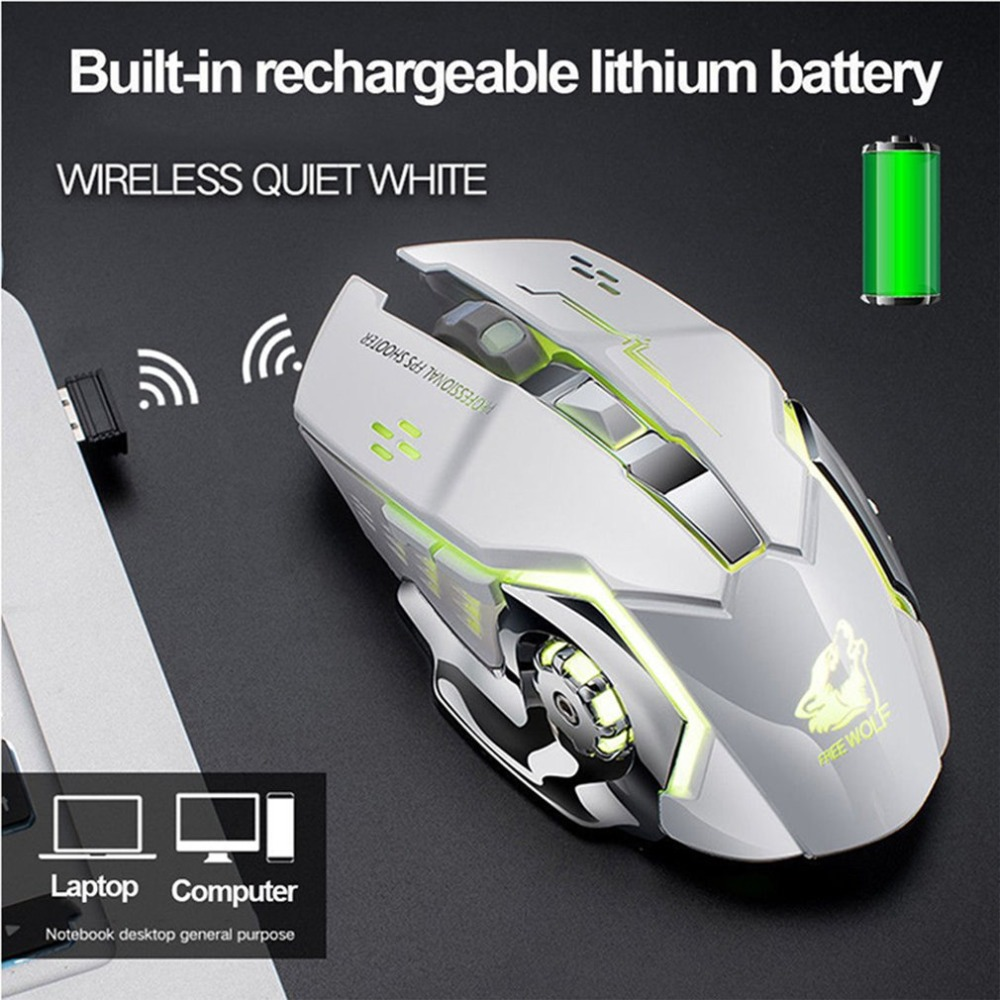 лучшая цена X8 Super Quiet Wireless Gaming Mouse 2400DPI Rechargeable Computer Mouse Optical Gaming Gamer Mouse for PC Black Drop shipping