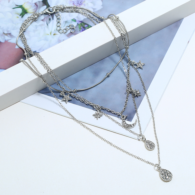 HOCOLE Fashion Multi layer Moon Star Pendant Necklace For Women Silver Color Crystal Chain Necklace Female Party Jewelry Gifts in Pendant Necklaces from Jewelry Accessories
