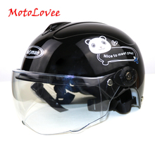 MotoLovee Children Motorcycle Helmet Cartoon Kids Helmet For Motorcycle Open Face Helmet Casco Moto Capacete Retro Vintage Caps недорого