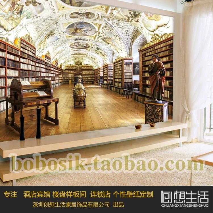 3D stereo boekenplank bibliotheek behang Europese koninklijke hof ...