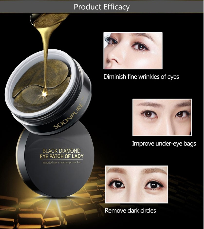 SOON PURE Black Gold Aquagel Collagen Eye Mask Ageless Anti Wrinkle Eye Bags Dark Circles Puffy Eyes Whitening Skin Care Face 11