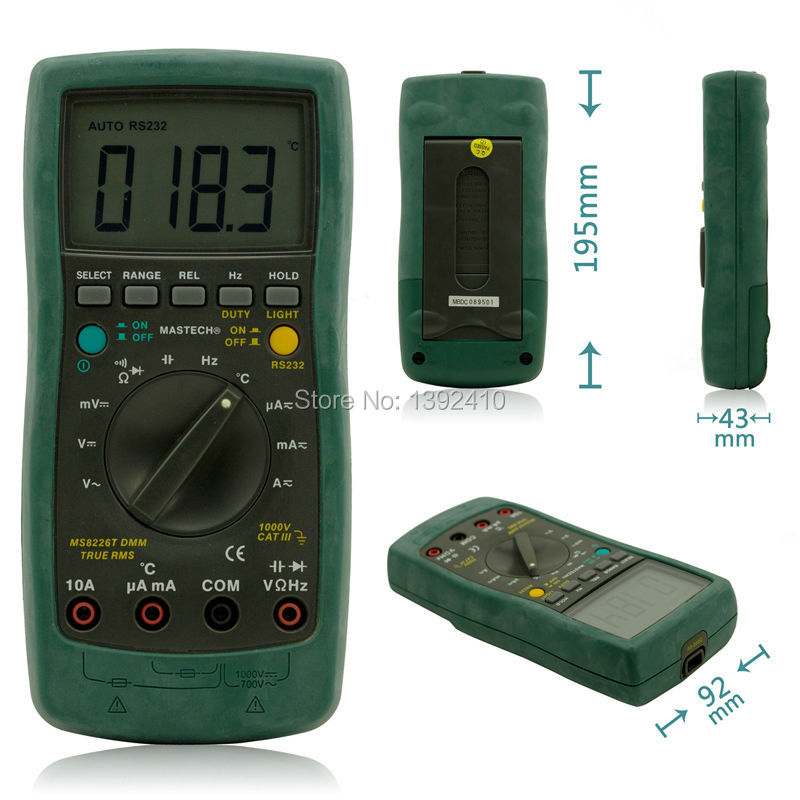 MASTECH MS8226T Digital Multimeter Auto range True RMS DMM HZ Capacitance Temperature Meter With Box mastech ms8260f 4000 counts auto range megohmmeter dmm frequency capacitor w ncv