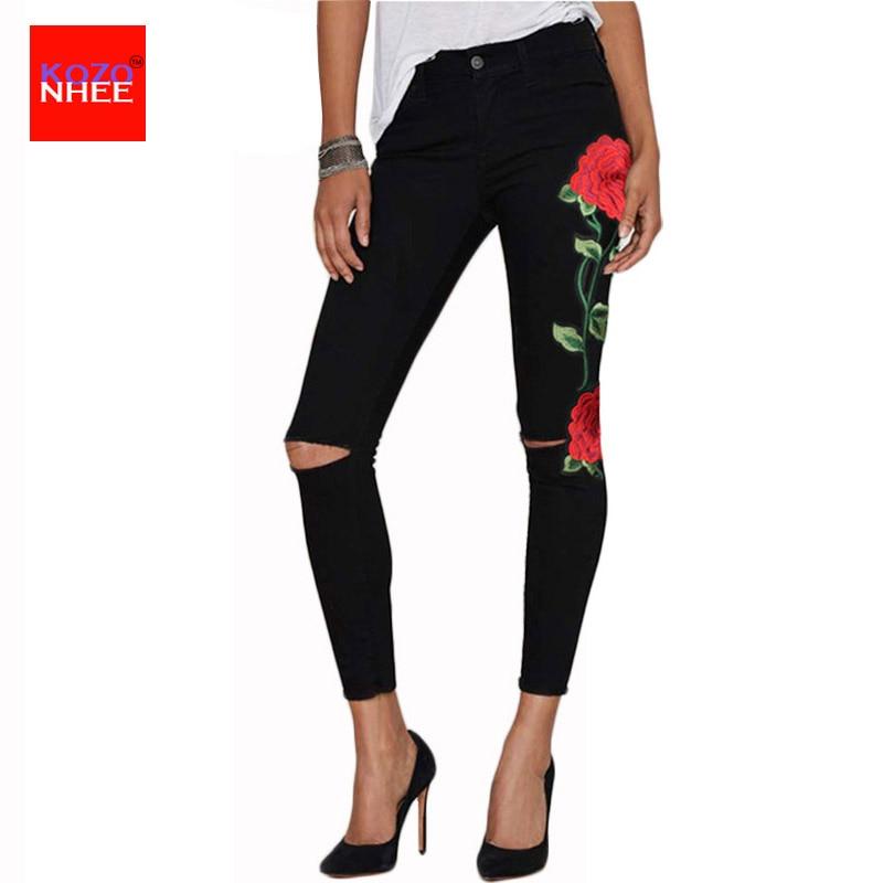 Dámské džíny s vysokým pasem Květinové 3D výšivky Ladies - Dámské oblečení