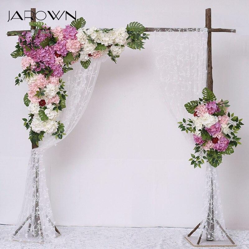JAROWN Simulation hortensia Rose Fleur rangée en plein air fête de mariage arc décoration Design Floral ensemble hôtel fond décor Fleur