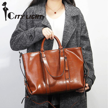 Women Bags Oil Wax Leather Handbags Tote Fashion Women Messenger Shoulder Bag Ladies Large Croseebody Bags