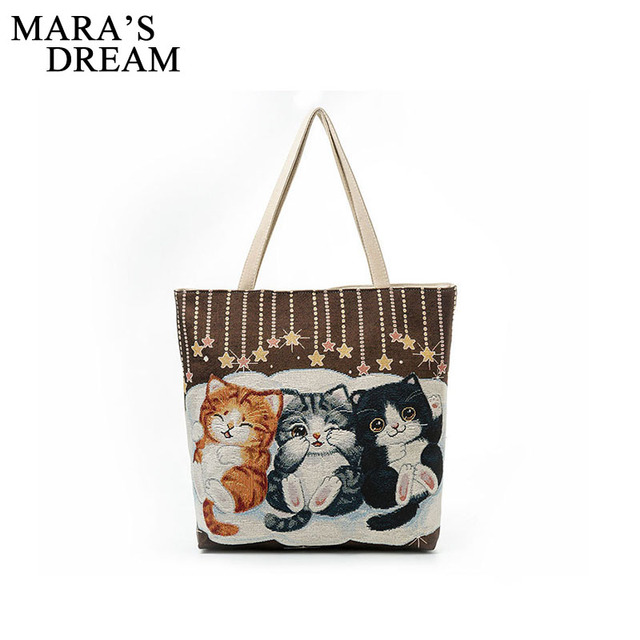 Mara S Dream Fashion Women Canvas Handbag Cute Cat Liques Travel Shoulder Bags Causal Lady Handbags Female