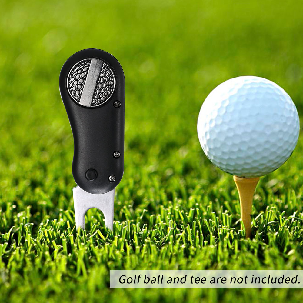 Image 5 - 1 Pcs Steel Golf Divot Tool Foldable Golf Divot Tool Pop up Button golf fork Magnetic Golf Accessories Dropshipping-in Golf Training Aids from Sports & Entertainment