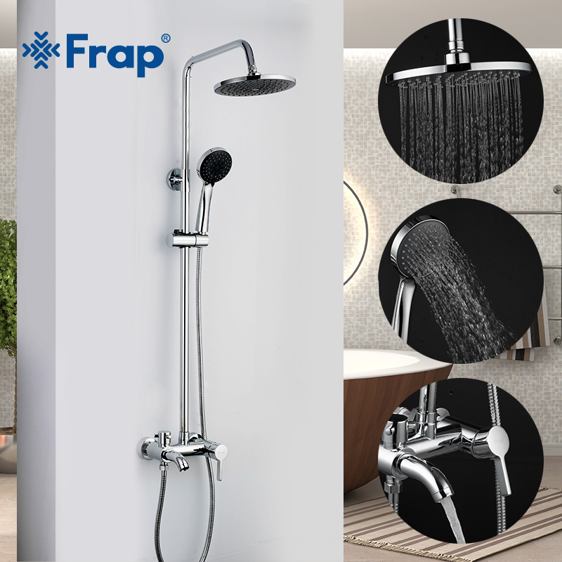 FRAP Shower Faucets chrome wall mounted shower mixer for bathroom shower faucet ABS rain shower head set bathtub faucet tapwareFRAP Shower Faucets chrome wall mounted shower mixer for bathroom shower faucet ABS rain shower head set bathtub faucet tapware