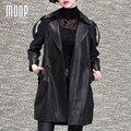 Мода весна черный натуральная кожа пальто овчины долго ветровка пальто abrigos mujer casaco feminino LT1182 Свободный Корабль