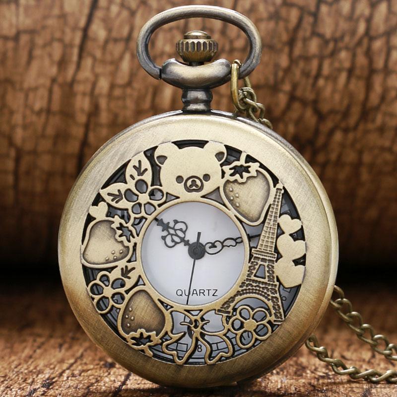 Cute Hollow Rilakkuma Paris Eiffel Tower Pattern Vinatge Pocket Watch With Necklace Chain Quartz Movement Reloj De Bolsillo