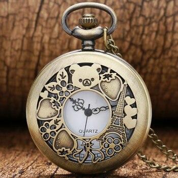 Cute Hollow Rilakkuma Paris Eiffel Tower Pattern Vinatge Pocket Watch with Necklace Chain Quartz Movement Reloj De Bolsillo - discount item  30% OFF Pocket & Fob Watches