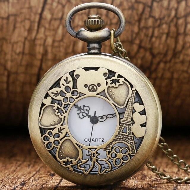 Cute Hollow Rilakkuma Paris Eiffel Tower Pattern Vinatge Pocket Watch with Neckl