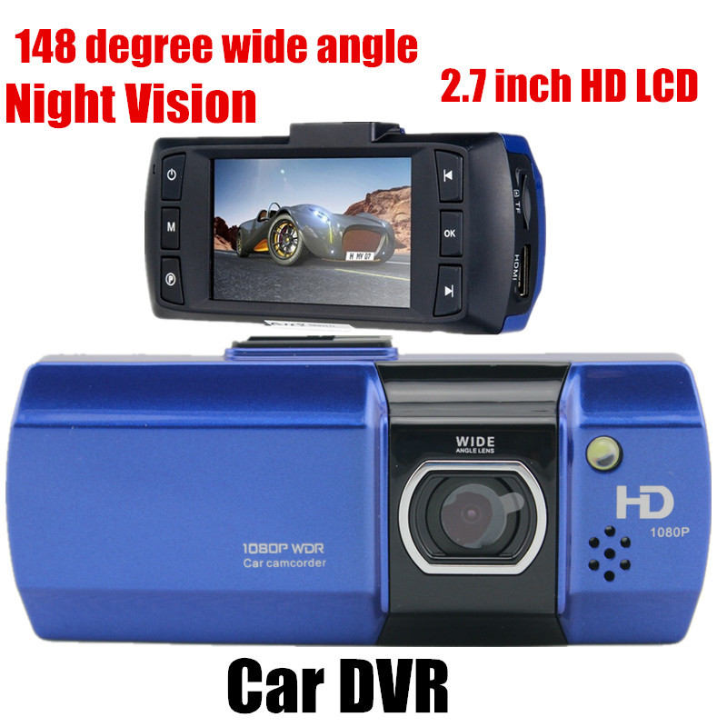 148 degree wide angle Full HD Car DVR Video Recoder Camera G-Sensor 2.7 inch LCD Night vision Free shipping
