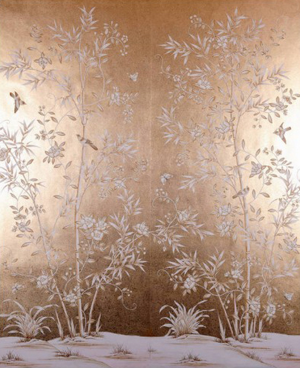 Luxurious Hand Painted Silver Gold Foil Wallpaper Painting Flowers With Birds And Bamboo Many Patterns Background Optional In Wallpapers From Home
