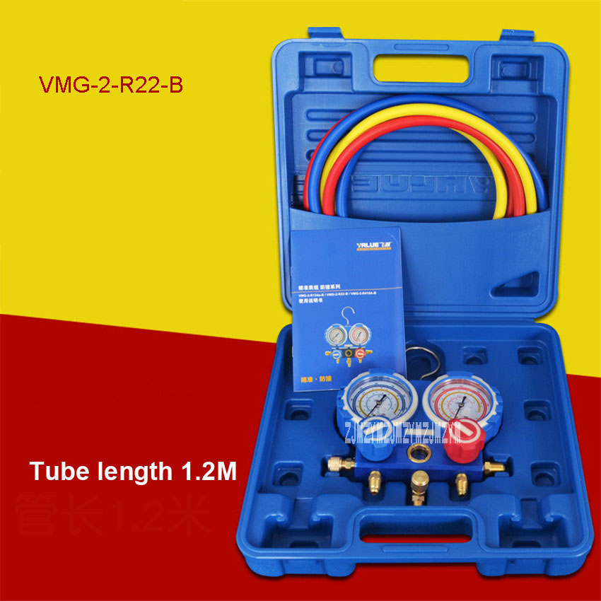 New Hot VMG-2-R22-B Air Conditioning Plus Fluoride Table R410 Refrigerant Table /Car Air Conditioning Plus Fluoride Tools Sets 2017 new high quality air conditioning repair tools leak detection test adapter